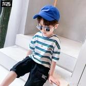 左西童裝男童T恤短袖夏裝2020新款兒童純棉條紋上衣中大童夏季潮 一米陽光