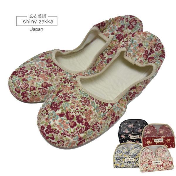 日本室內/旅用布拖-繽紛花漾摺疊布拖鞋22~24-可收納好攜帶-碎花紅-玄衣美舖