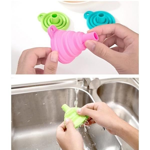 【BlueCat】廚房環保矽膠折疊伸縮漏斗