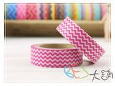 紙膠帶-和紙膠帶上下細波紋 粉紅色