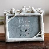 7寸三只鳥樹脂相框創意照片框小鳥擺臺彩繪家居飾品WL3070【衣好月圓】TW