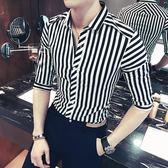 短袖襯衫男夏季免燙中袖條紋七分袖男士格子休閒青年襯衣潮流薄 愛麗絲精品