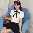 夏季新款韓版蝴蝶結飄帶娃娃領襯衫女短袖寬鬆百搭休閒雪紡襯衣白