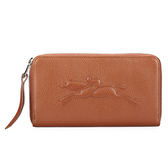 LONGCHAMP Le Pliage Cuir賽馬logo烙印荔枝皮紋拉鍊長夾(咖啡色)480807-504