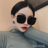 超大框黑色方形偏光墨鏡女大臉顯瘦個性百搭防紫外線太 洛小仙女鞋