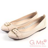 G.Ms.* MIT系列-牛皮柔軟洞洞皮帶釦娃娃鞋-甜粉杏