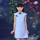 中式女童亞麻旗袍 兒童小女孩夏天短袖唐裝 女孩復古大童 民國風-Ifashion