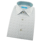 【南紡購物中心】【襯衫工房】長袖襯衫-白底淺藍色抽象蜜蜂印花