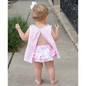RuffleButts PP包屁短褲 荷葉邊白色蝴蝶結 | 女寶寶褲子(嬰幼兒/兒童/小孩)