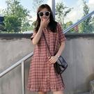短袖洋裝 短袖連衣裙女學生夏甜美森系新款法式polo領超仙寬鬆顯瘦裙子 莎瓦迪卡
