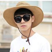 防曬牛仔草帽男士青年夏天遮陽帽子戶外夏季大沿海邊沙灘帽漁夫帽  七夕節禮物 全館八折