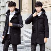 男士棉衣青年中長款修身棉襖英倫大碼連帽棉服加厚學生外套潮  瑪奇哈朵