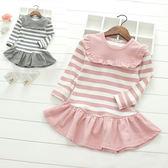 荷葉條紋長袖連身洋裝 長版上衣 橘魔法 Baby magic 現貨 兒童 女童童裝