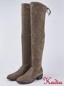 kadia.彈力絨布低跟過膝長靴(8857-85棕色)
