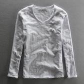 秋裝新款竹節棉麻男士長袖T恤V領子純單色亞麻全棉體恤衫韓版修身    非凡小鋪