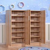 簡約現代大容量木質鞋柜門廳柜三四對開門簡易組裝儲物收納柜 DH