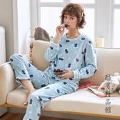 韓版秋冬季珊瑚絨睡衣長袖套頭大碼法蘭絨女士家居服甜美可愛外穿 酷男精品館