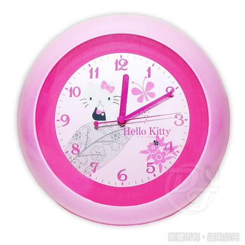 《一打就通》Hello Kitty 蝶舞翩翩超靜音掛鐘 JM-W571KT-C