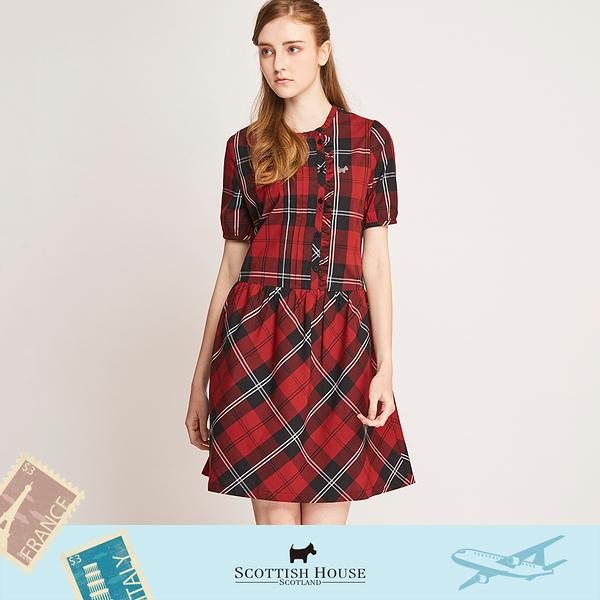 (紅黑格)荷葉開襟短袖格子洋裝 Scottish House 【AL3102】