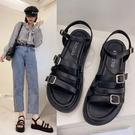涼鞋.韓版時尚羅馬金屬釦繞踝厚底涼鞋.白鳥麗子