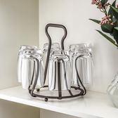 日式杯架 鐵藝水杯架子玻璃杯咖啡杯瀝水架水杯掛架【步行者戶外生活館】