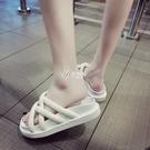 拖鞋 拖鞋女夏季新款韓版百搭學生厚底女鞋百搭綁帶平底懶人鞋