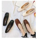 單鞋女季平底豆豆鞋方頭時尚百搭休閒復古奶奶鞋 水晶鞋坊