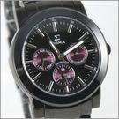 【萬年鐘錶】SIGMA 全黑紫圈三眼時尚腕錶 8807M-BP