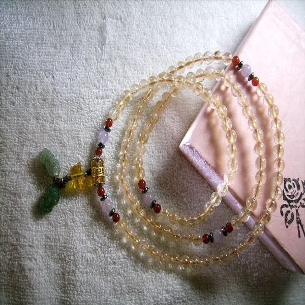 【Ruby工作坊】「直購價,每顆0.55CM 」NO.29 108顆天然黃水晶貔貅念珠手鍊(加持祈福)