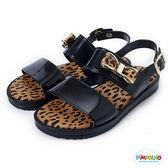 PIMPOLHO 豹紋蝴蝶結休閒涼鞋-童-黑色