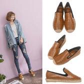 Ann'S簡約歐美-素面石頭紋草編鞋-棕