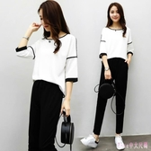 大碼運動套裝 夏季女裝胖MM2019休閒兩件套韓版寬鬆上衣長褲 HT24750