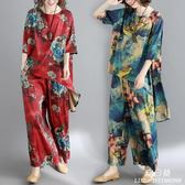 民族風女裝復古印花套裝200斤胖mm中大尺碼 裙褲寬鬆中袖上衣兩件套潮