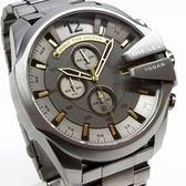【萬年鐘錶】DIESEL 潮牌 霸氣 三眼 計時碼錶  金屬灰錶面 金屬灰殼 超大錶徑 52mm DZ4466