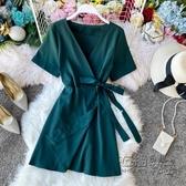 女人味洋裝夏氣質小個子V領繫帶收腰顯瘦法式復古一片式裹身裙 衣櫥秘密