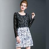 大尺碼洋裝  印花拼接蕾絲連身裙長分袖簡約 L-5XL #jw5043 ❤卡樂store❤
