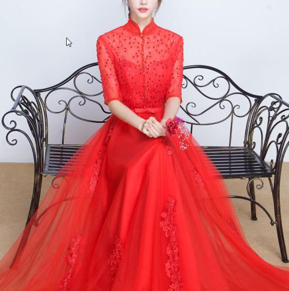 (45 Design)  訂做7天到貨 韓風婚紗禮服 晚宴 顯瘦性感晚宴結婚禮服婚紗 高級訂製服12