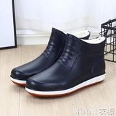 男士雨靴 男士短筒雨鞋男防滑膠鞋廚房工作防水鞋男時尚潮流雨靴 母親節特惠