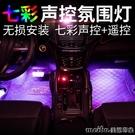 汽車車內氛圍燈改裝led爆閃裝飾燈腳底燈七彩聲控音樂節奏氣氛燈 美芭