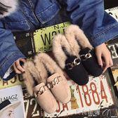 帶毛豆豆鞋帶毛毛豆豆鞋女秋冬季2017新款學生平底韓版百搭春社會瓢鞋單鞋子 貝兒鞋櫃