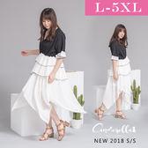 大碼仙杜拉-中大尺碼 高腰雪紡拼接不規則撞色洋裝/洋裝 XL-4XL碼 ❤【SUC1358】(預購)