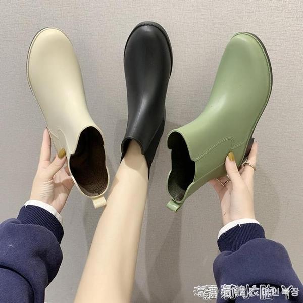 日系甜美ins時尚款外穿雨鞋女短筒防水防滑雨靴加絨保暖中筒套鞋 蘿莉新品