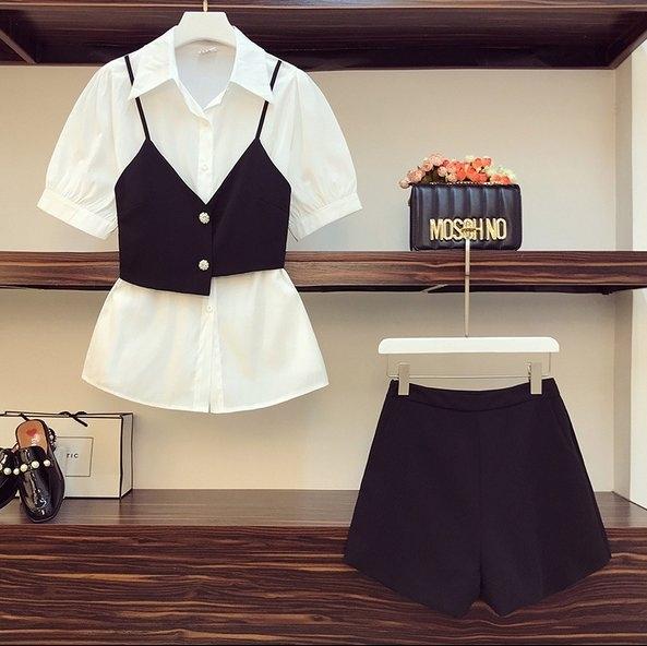 套裝襯衫馬甲短褲L-4XL中大尺碼大碼時尚洋氣襯衫遮胯短褲兩件套R04.2599胖丫