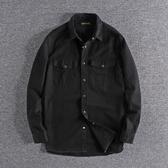 長袖襯衫 簡約寬松潮流黑色水洗青年中長款襯衣歐美男士休閑襯衫外套