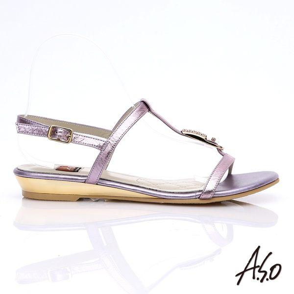 A.S.O 軟芯系列 真皮水鑽金箔細帶涼鞋 淺紫色
