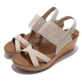 Skechers 涼拖鞋 Beverlee-High Tea 米白 咖啡 高跟 增高 女鞋 涼鞋【PUMP306】 31723NAT