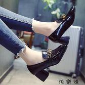 女鞋粗跟中跟小皮鞋淺口社會豆豆鞋子女