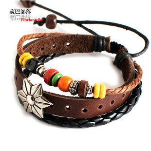 藏銀桃木金屬鉚釘繩編牛皮手鏈