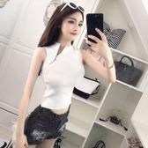 2018夏季新款女時尚韓版斜拉鏈修身顯瘦短款無袖上衣小背心外穿女