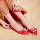 鞋子女新娘婚鞋平底水晶鞋